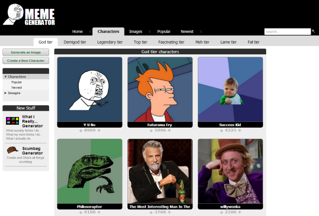 The God tier (i.e. most popular) characters at on the website Meme Generator as of February 23rd, 2013. Click for link to site.